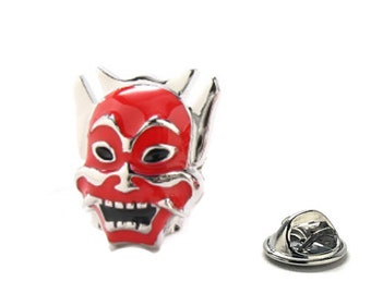 Enamel Pin Samurai Ninja Warrior Mask Lapel Pin Silver Tone Lucky Red Enamel Tie Tack Collector Pin Comes with Gift Box