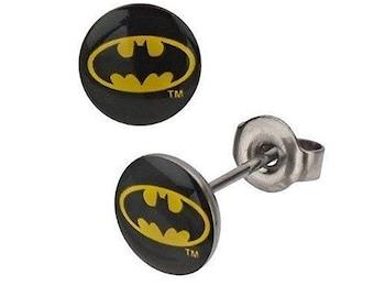Earrings Batman Sign of the Bat Stainless Steel Post Little Batman Stud Earrings superhero Collection Jewelry