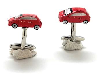 Red Car Cufflinks Bright Red Enamel Fun Detail Mini Van Fun Jewelry Cuff Links