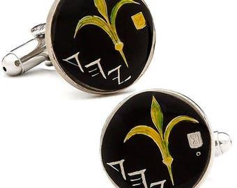 Enamel Cufflinks Israel Enamel Coin Jewelry Black Enamel Golden Corn Hand Painted Cuff Links Keepsake Very Cool Unique World with Gift Box