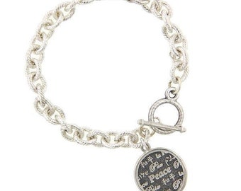 Silver World Peace on Earth Charm Toggle Circle Heavy Chain Bracelet Christmas Silk Road Jewelry