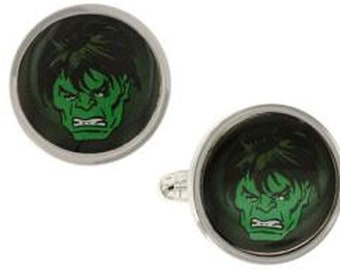 Marvel Comics Cufflinks Superhero Green Incredible Hulk Smash Face Cuff Links Gifts for Dad Gifts for Him