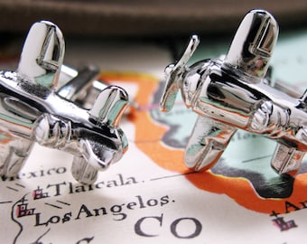 Shiny Silver Air Racer Cufflinks Shiny Silver Airplane Fast Flyer Ace Pilot Cuff Links