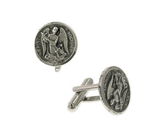 Silver St. Michael the Archangel Round Cuff Links Religious Faith Cufflinks