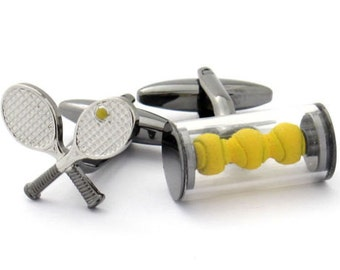 Tennis Racket and Balls Cufflinks Silver Tone Finish Yellow Sports Cuff Links