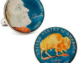 Enamel Cufflinks Hand Painted Authentic US Buffalo Nickel Cuff Links Currency United States Mint Bison Cuff Links Enamel Coin Jewelry Money