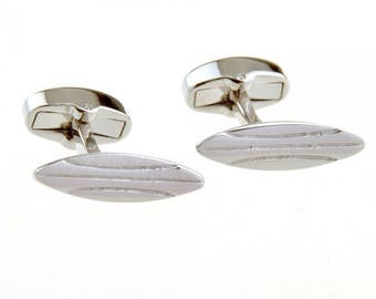 Surfboard Cufflinks Silver Tone Hawaii  Catching the Waves Tropical Paradise Waters Surf board Whale Tail Backing Cuff Links