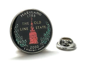 Collector Hand Painted Maryland State Quarter Enamel Coin Lapel Pin Tie Tack Travel Souvenir Coins Keepsakes Cool Fun Comes with Gift Box
