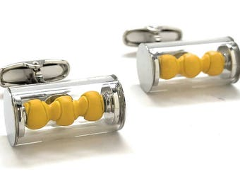 Yellow Tennis Ball Cufflinks in a Silver Can Tennis Players Novelty Fun Cool Unique Cuff Links