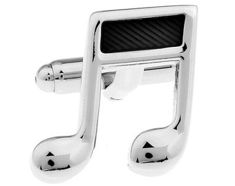 Silver and Black Music Note Sixteenth Notes Music Piano Orchestra Conductor Cufflinks Cuff Links