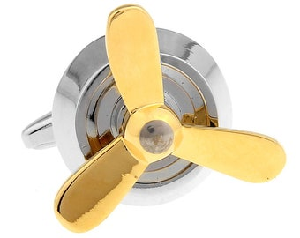 Propeller Cufflinks Silver with Gold Tone Airplane Prop Spinner Flying Cuff Links Cufflinks