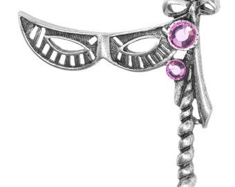 Shawl Pin, Pewter Pink Crystal Masquerade Mask Pin