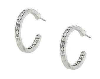 Vintage Estate Crystal Etched Hoop Medium Earrings Silk Road Jewelry