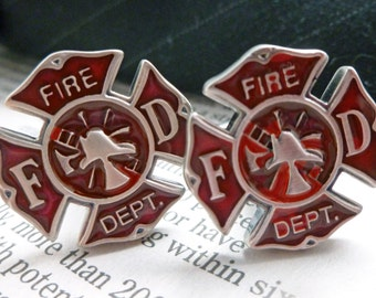 Firemens Shield Cufflinks Cut Out Fire Man Red Cuff Links