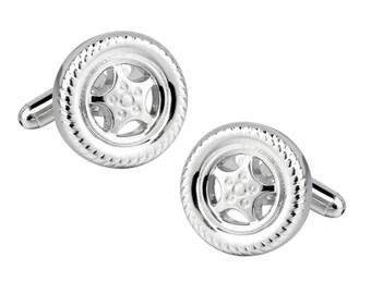 Silver Tires Cufflinks Hubcaps Racing Wheels Automobile Car Lover Cufflinks Cuff Links