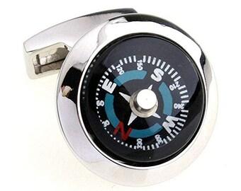 Mens Executive Cufflinks Adventure  Blue Collection Explore the World Working Explorer Compass Cuff Links