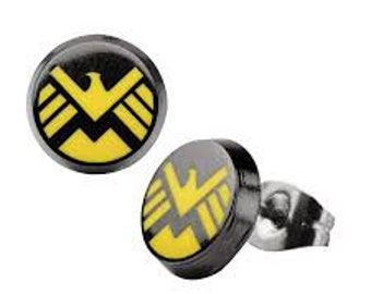 Earrings Avengers Shield Petite Stainless Steel Post Stud Earrings Avengers Yellow and Black superhero Collection Jewelry