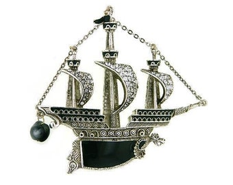 Shawl Pin, Antiquities Couture Silver Black Enamel Crystal and Black Costume Pearl Galleon Ship Pin