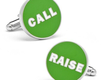 Las Vegas Green Poker Decision Call Raise Gambler Cufflinks Play The Odds Fun Cuff Links