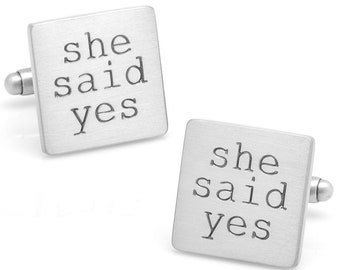 She Said Yes Wedding Cufflinks Cuff Links Great for Weddings Marriage Best Friend The Big Day with Gift Box