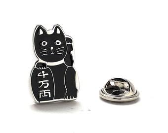 Lucky Cat Enamel Pin, Black