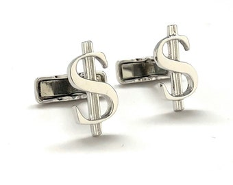 Sterling Silver Dollar Sign Financial Greenbacks Bankers Stock Broker Cuff Links Cufflinks