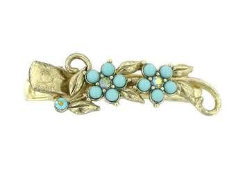 Brass Gold Hair Jewelry Clip Turquoise color with Green Crystals Flower Hair Clip Barrett
