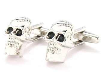 Silver Skull Cufflinks Black Zirconia Eyes Cufflinks Cuff Links Skull Halloween Cuff Links Novelty Fun Part Cool Comes with Gift Box