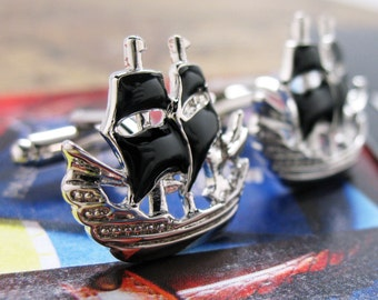Pirate Ship Cufflinks Silver Tone Boat Black Enamel Sails Ocean Sailing Schooner Cuff Links