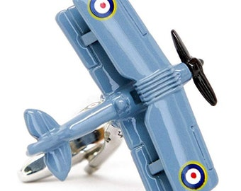 British Biplane Airplane Cufflinks Pilot Plane Blue Enamel Cuff Links
