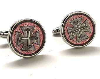 Byzantine Cross Silver wiyh Red Crusaders Cufflinks Silver Cross Cuff Links Byzantine Empire
