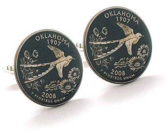 Enamel Cufflinks Hand Painted Oklahoma Suit Flag State Enamel Coin Jewelry USA United States America City Tulsa Norman Bird Swallow