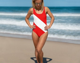 Diver Down Flag One-Piece Swimsuit Scuba Diving