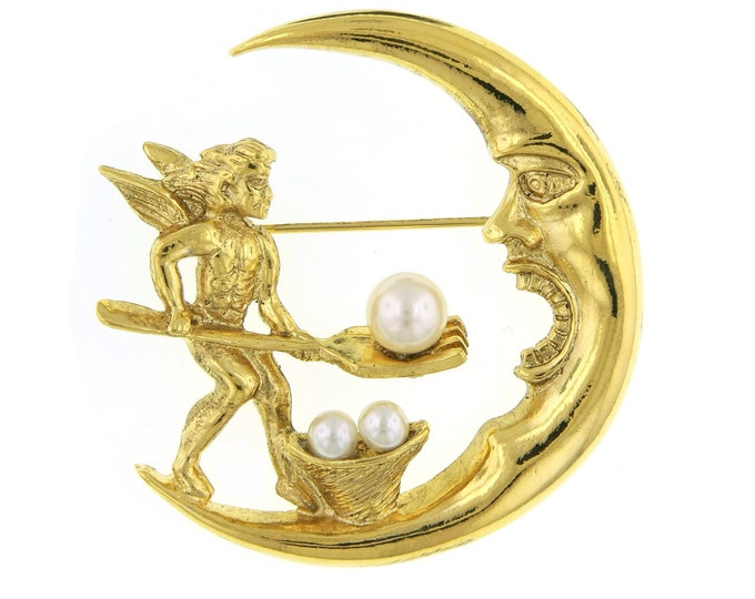 Featured listing image: Shawl Pin, Antiquities Couture Gold Costume Pearl Spirit & Soul Crescent Moon Pin