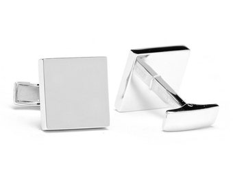 Sterling Silver Cufflinks Engravable Square Infinity .925 Wedding Cuff Links