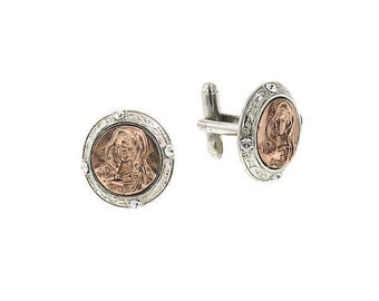 Rose Gold and SIlver Religious Faith Mary Embossed Image of the Virgin Mary Cufflinks Cuff Links