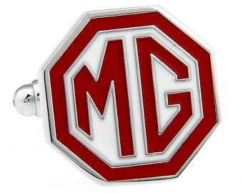 MG Logo Red White Car Automobile Lover Cufflinks Cufflinks Automobile One of  Kind Cufflinks Cufflinks