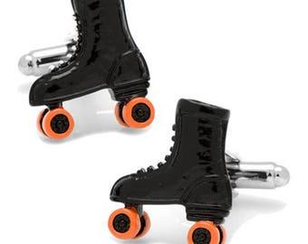 Old School Roller Skates Cufflinks 50's Roller Skating Party Black Enamel Cuff Links Cufflinks