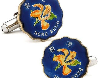 Enamel Cufflinks Hand Painted China Coin Blue Flower Hong Kong Nature Asia Enamel Coin Jewelry Cuff Links Keepsake Very Cool Unique World