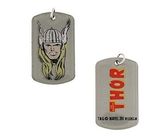 Dog Tag Marvel Comics Mighty Hero Thor Head Dog Tag Pendant Necklace Marvel Comics with Chain vintage jewelry