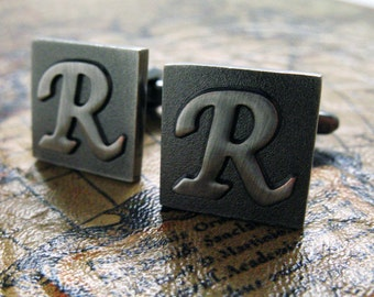 R Initial Cufflinks Gunmetal Square 3-D Letter R Vintage Letters English Cuff Links Groom Father of the Bride Wedding Father's Day Gift Box