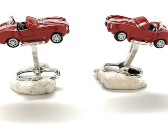 Shelby Stripes Red Racer Cufflinks Classic Muscle Car White Convertible Revved Up Cool Fun Cuff Links Comes with Gift Box