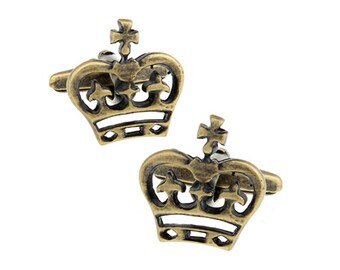 Crown Cufflinks Royal Cross Simple Antique Gold Tone Cuff Links