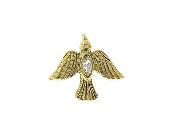 Flying Dove Enamel Pin Bird of Peace Lapel Pin Flying Gold dove with Crystal Tie Tack Collector Pin 3D Design