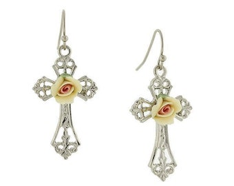 Earrings Porcelain Rose Cross Drop Gold or Silver with Purple Pink or Yellow Rose Religious Faith Collection Jewelry