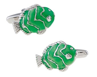 Tropical Green Fish Cufflinks Beautiful Green Silver Lucky Beta Ocean Sea Cuff Links Gifts for Him Husband Gifts for dad