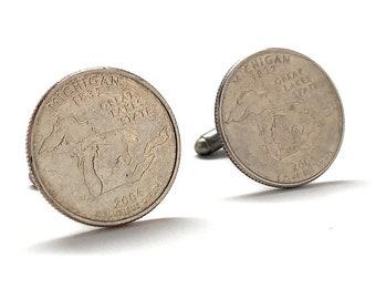 Enamel Cufflinks Hand Painted South Carolina State Quarter Enamel Coin Jewelry Money Currency Finance Cuff Links Designer Jewelry Handmade