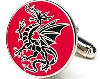 Lucky Aragon Dragon Cufflinks Red Black Cufflinks Cuff Links