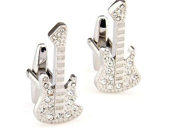 Silver Star Studded Electric Guitar Elvis Cufflinks Full Guitar with Body and Neck Rock and Roll Cuff Links Comes with Gift Box