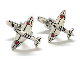Silver Tone Japaneses Zero Cufflinks Japan Airplane Special Edition Mitsubishi A6M Zero Cuff Links WWII Aviation Pilot Cool Gift Box
